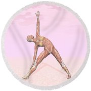 Female Musculature Performing Triangle Round Beach Towel