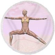 Female Musculature Performing Warrior Round Beach Towel