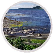 Fence Along Rocky Harbour-nl Round Beach Towel