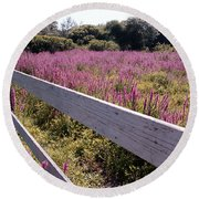 Fence And Purple Wild Flowers Round Beach Towel