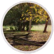 Fence And Tree In Autumn Round Beach Towel