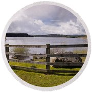 Fence At Kielder Water Round Beach Towel