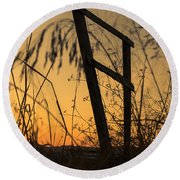 Fence At Sunset I Round Beach Towel