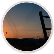 Fence At Sunset II Round Beach Towel