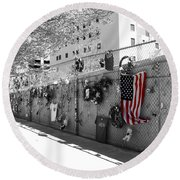 Fence At The Oklahoma City Bombing Memorial Round Beach Towel