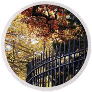 Fence At Woodlawn Cemetery Round Beach Towel