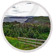 Fence In Fields At Long Point In Twillingate-nl Round Beach Towel