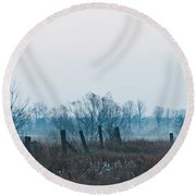 Fence In The Fog Round Beach Towel