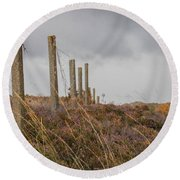 Fence In The Storm In Norway Round Beach Towel