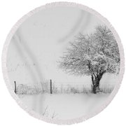 Fence Line In The Wintertime  Round Beach Towel
