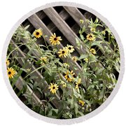 Fence Lined Wildflowers Round Beach Towel