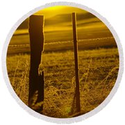 Fence Post In The Morning Light Round Beach Towel