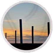 Fence Posts At Sunset Round Beach Towel