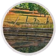 Fence Reflection Round Beach Towel