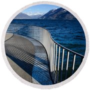 Fence With Shadow Round Beach Towel