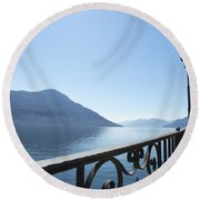 Fence With Street Lamp Round Beach Towel