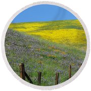 Fenced In Flowers Round Beach Towel
