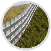 Fenced In Or Fenced Out Round Beach Towel