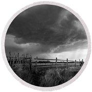 Fenced In - Western Oklahoma Scene In Black And White Round Beach Towel