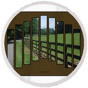 Fenced Pasture Round Beach Towel