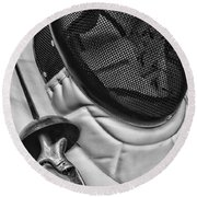 Fencing - Fencing Mask And Sword Round Beach Towel