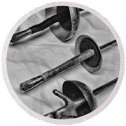 Fencing - Fencing Swords Round Beach Towel