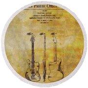 Fender Guitar Patent On Canvas Round Beach Towel