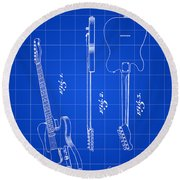 Fender Guitar Patent 1951 - Blue Round Beach Towel