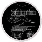 Fender Guitar Tremolo Patent Art 1956 Round Beach Towel