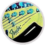 Fender Head In Watercolor Photo Round Beach Towel