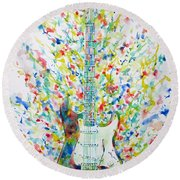 Fender Stratocaster - Watercolor Portrait Round Beach Towel
