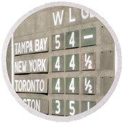 Fenway Park Al East Scoreboard Standings Round Beach Towel