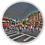 Fenway Park And Cask And Flagon Round Beach Towel