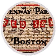Fenway Park Boston Redsox Sign Round Beach Towel by Bill Cannon