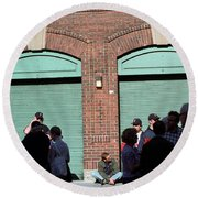 Fenway Park - Fans And Locked Gate Round Beach Towel by Frank Romeo