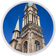 Ferencvaros Church Tower In Budapest Round Beach Towel
