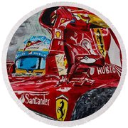 Fernando Alonso And Ferrari F10 Round Beach Towel