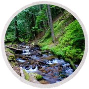 Ferns Dancing By The Creek Round Beach Towel