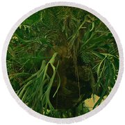 Ferns In The Jungle Room Round Beach Towel