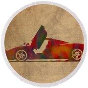 Ferrari Enzo 2004 Classic Car Watercolor On Worn Distressed Canvas Round Beach Towel