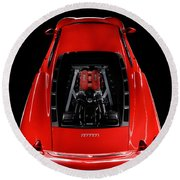 Ferrari F430 Engine Round Beach Towel