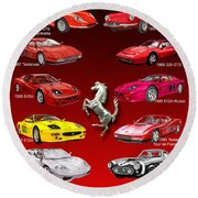 Ferrari Poster Art Round Beach Towel by Jack Pumphrey