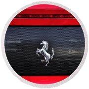 Ferrari - Rear Grill And Stallion Badge Round Beach Towel