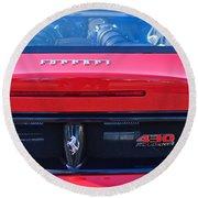 Ferrari Scuderia 430 Rear Emblems Round Beach Towel