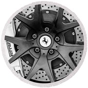 Ferrari Wheel Emblem - Brake Emblem -0430bw Round Beach Towel