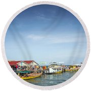 Ferries At Koh Rong Island Pier In Cambodiaferries At Koh Rong I Round Beach Towel