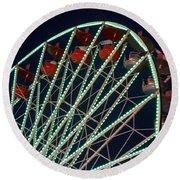 Ferris Wheel After Dark Round Beach Towel