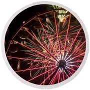 Ferris Wheel And Fireworks Round Beach Towel