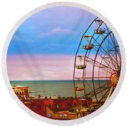 Ocean City New Jersey Ferris Wheel And Music Pier Round Beach Towel