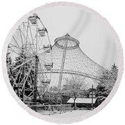 Ferris Wheel And R F P Pavilion - Spokane Washington Round Beach Towel